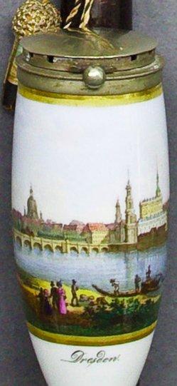 Canaletto, Bernardo Belotto (1721-1780), Ansicht von Dresden, Porzellanmalerei, Pfeifenkopf, B0233