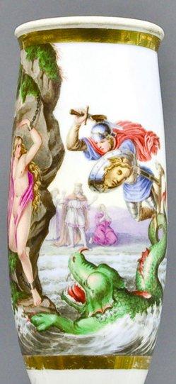 Francois Lemoine (1688-1737), Perseus befreit Andromeda, Porzellanmalerei, Pfeifenkopf, B0176