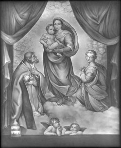 KPM 96 Lithophanie, Sixtinische Madonna, nach Raphael