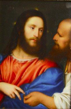 Tizian, (1477od.1488-1576), Der Zinsgroschen, Porzellanmalerei, Bildplatte, D1963