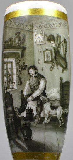 Aufbruch zur Jagd, Schwarzlotmalerei, Pfeifenkopf, D2067