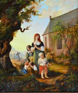 Witwe mit Kindern, Gemälde 1839, Monogrammist H.V., D2009