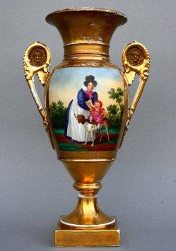 Ausritt auf dem Hund, Porzellanmalerei, Vase, D0853