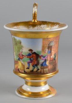 Bauernreigen, Porzellanmalerei, Tasse, D1175-0