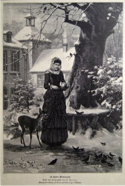 C. Kohnlein, Holzstich, In harter Winterzeit, nach H. Werner 1858, D1187