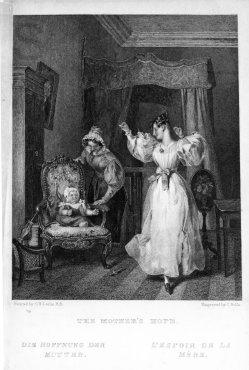 Charles Rolls, Die Hoffnung der Mutter, nach C.R. Leslie, Stahlstich, A0101