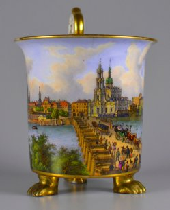 Elbpanorama von Dresden, Porzellanmalerei, Tasse, D1725