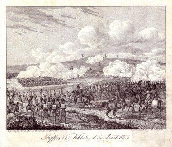 F.A.Frenzel, Lithographie, Treffen bei Vehlitz d. 5. April  1813, D0939