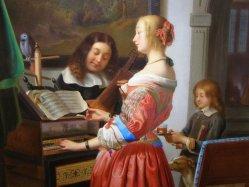 Frans van Mieris (1635-1681), Woman at a harpsichord, Porzellanmalerei, Bildplatte, A0100