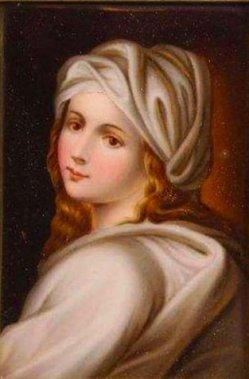 Guido Reni (1575-1642), Beatrice Cenci, Porzellanmalerei, Bildplatte, D1757
