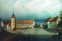 """Hermann Werner (1816-1905), Gemälde 1842 """"Der Junkerhof"""""""