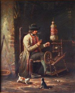 """Hermann Werner (1816-1905), Gemälde 1856 """"Häuslicher Fleiß"""", D2081"""