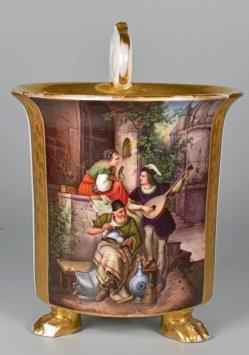 Johann Hermann Kretzschmer (1811-1890), Der Burghof, Porzellanmalerei, Tasse, D2079