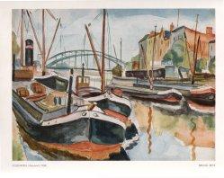 Bruno Beye (1895-1976), Zollhafen, Aquarell, 1943