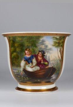 """Ferdinand Theodor Hildebrandt (1804-1874) """"Warnung vor der Wassernixe"""", Porzellanmalerei, Tasse, D2105"""