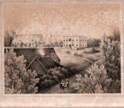 Henning, J.,  Heringsdorf, Weißes Schloß (hinten links), Lithographie nach W.v.Schack, D0163-6
