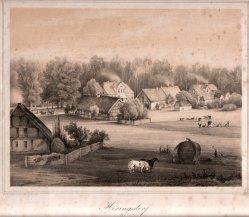 Henning, J., Heringsdorf, Die alte Wilhelmstraße, Lithographie nach W.v.Schack, D0163-5