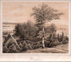 Henning, J., Heringsdorf, Villa Schering mit Blick auf die Seebrücke, Lithographie nach W.v.Schack, D0163-7