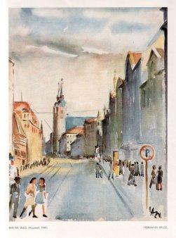 Hermann Bruse (1904-1953), Breiter Weg, Aquarell, 1944