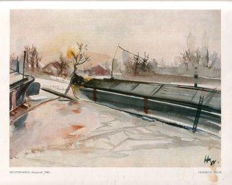 Hermann Bruse (1904-1953), Winterhafen, Aquarell, 1942