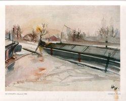 Hermann Bruse (1904-1953), Winterhafen, Aquarell, 1942