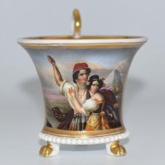 Ludwig Julius Asher (1804-1878), Die Stumme von Portici, Porzellanmalerei, Perlfriestasse, D2102