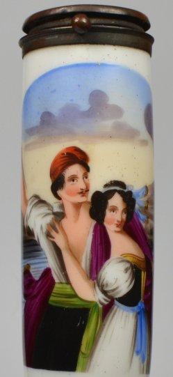 Ludwig Julius Asher (1804-1878), Die Stumme von Portici, Porzellanmalerei, Pfeifenkopf, D2103