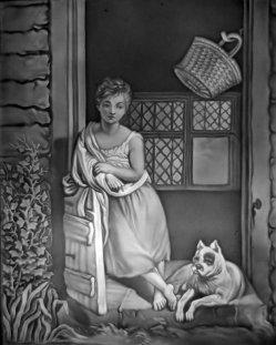 Meißen 85 – Mädchen mit Hund im Zimmer
