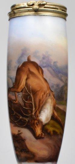 Johann Elias Ridinger (1698-1767), Gestürzter Hirsch, Porzellanmalerei, Pfeifenkopf, D2114