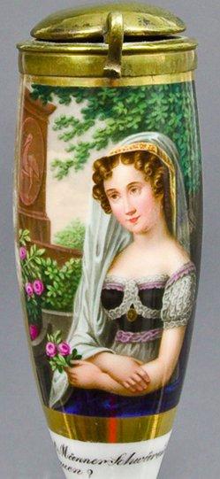 David Weiß (1775-1846), Ist Männer-Schwüren denn zu trauen, Porzellanmalerei, Pfeifenkopf, B0066