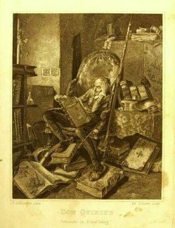 Eduard Schuler (1806-1882); Stahlstich, Don Quichotte, nach A. Schroedter, A0118