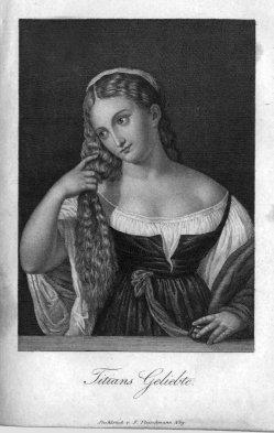 Friedrich Fleischmann (1791-1834), Stahlstich, Titians Geliebte, nach Tizian, A0123