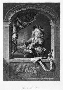 D.J.Pound, Der Geiger am Fenster, Stahlstich, nach Dou, D1138