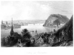 Thomas Abiel Prior (1809-1886), Coblentz and Ehrenbreitstein, Aquatinta Radierung nach W.H.Barlett, D1389