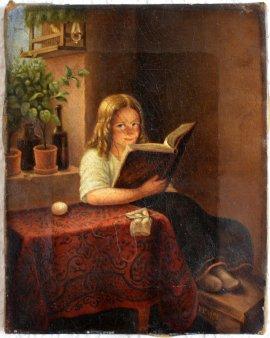 1697 Franz Thelen, Lesendes Mädchen ohn Rahmen
