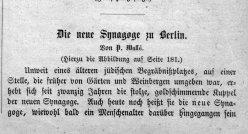 Berlin, Neue Synagoge 1864, Kommentar 1