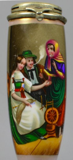 Die Wahrsagerin, Porzellanmalerei, Pfeifenkopf, D2045