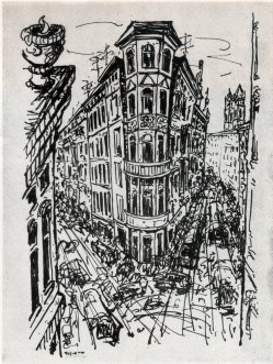 Ernst Seifert (1922-1976), Lithographie, Magdeburg Hasselbachplatz, 1970