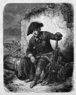 Friedrich der Große nach der Schlacht von Kollin, Holzstich, A0128