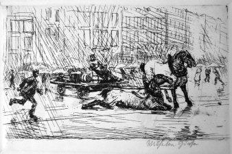 Wilhelm Giese (1883-1945), Berlin, Lastfuhre mit gestürztem Pferd, 1910 (277)