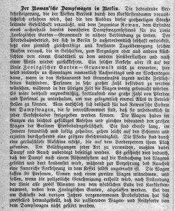 Berlin, Probefahrt Rowanscher Dampfwagen 1884, Kommentar