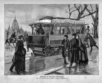 Berlin, Probefahrt Rowanscher Dampfwagen 1884, A0144
