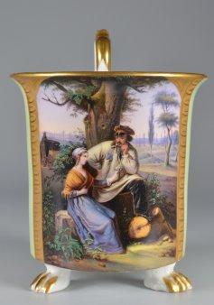Der Willkommensgruß, Porzellanmalerei, Freundschaftstasse, D2144