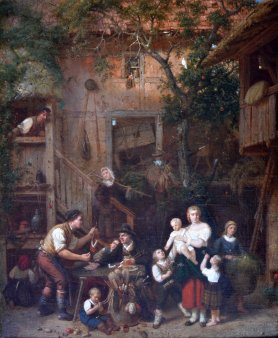 Eduard Gustav Seydel (1822-1881), Gemälde 1872, Pfeifenkauf im Bauernhof; D2149-1
