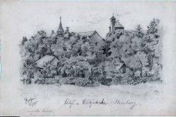 Marie Klara Marianne Rusche (1878-1959), Bleistiftzeichnung, Schloss und Schlosskirche Ilsenburg 1895, D0389