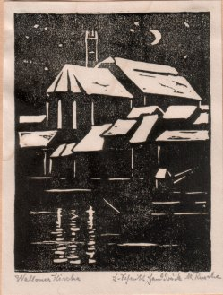 Marie Klara Marianne Rusche (1878-1959), Linolschnitt, Walloner Kirche (Magdeburg), D0388