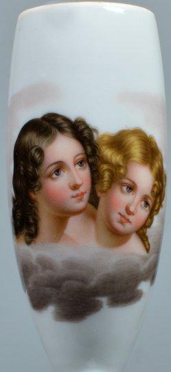 John Wood (1801-1870), Mädchen und Jungfrau, Porzellanmalerei, Pfeifenkopf, D2151
