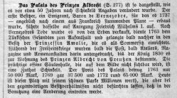 Palais des Prinzen Albrecht von Preußen um 1835, Kommentar