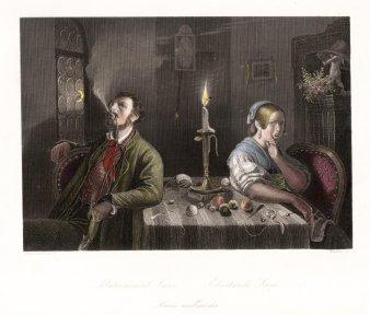 Adolf Neumann (1825 – 1884), Ehestands Szene, Stahlstich nach Hasenclever, D1051a