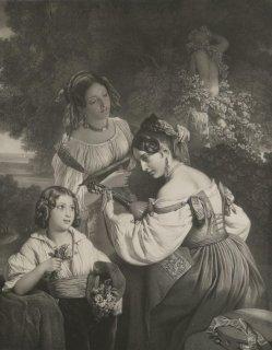 Alphonse-Léon Noël (1807-1884), Lithographie, Römische Genreszene, nach F.X. Winterhalter, A0174